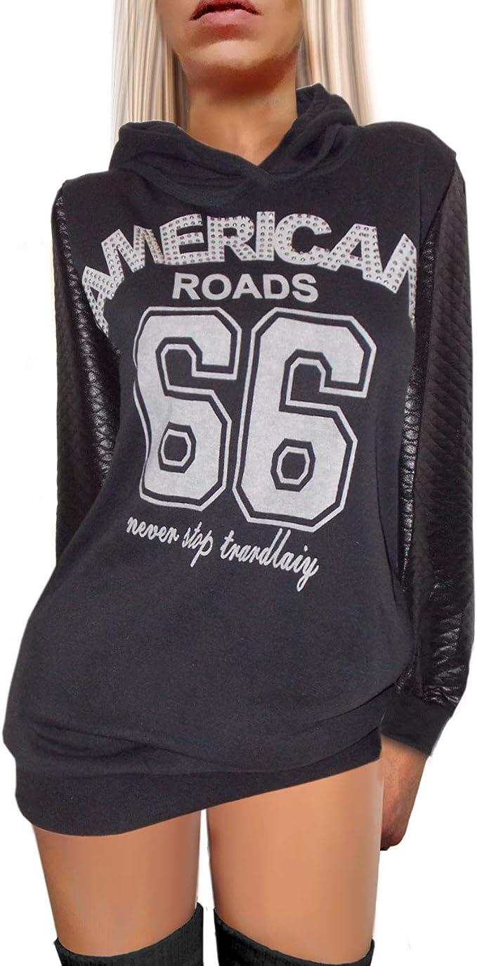 Damen Streetstyle Kapuzen Sweatshirts Hoodies Kapuzenpulli grau schwarz Schrift