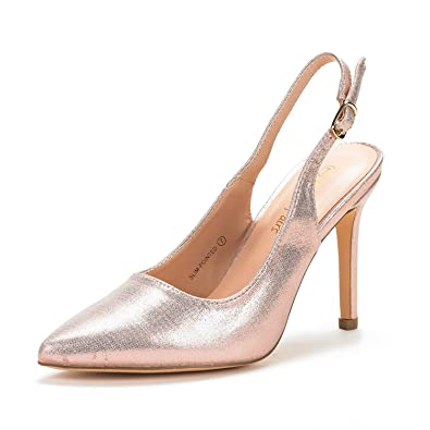 c89d60d9f8 DREAM PAIRS Women's Slim-Pointed Champagne Pearl High Heel Pump Shoes - 5  ...