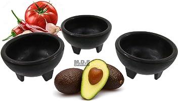 Molcajete 3pc Salsa Bowl for Guacamole Sauce Chips Deep Mexican Tortilla Black