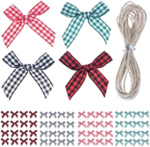 Xgood 200 Pieces Gingham Bows Gingham Ribbon Bows Colorful Mini Ribbon Bows Christmas Plaid Ribbon Bows Decors with 22 Yards Rope for Christmas Girt Crafts Wrapping Decoration,4 Colors
