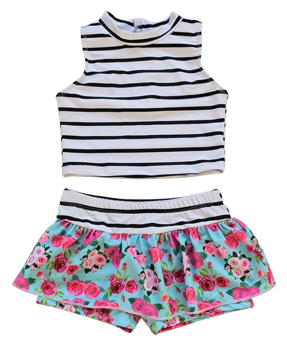 Baby Girls Two Piece Floral Tankini Swimsuit Beach Swimwear UNIQUEONE