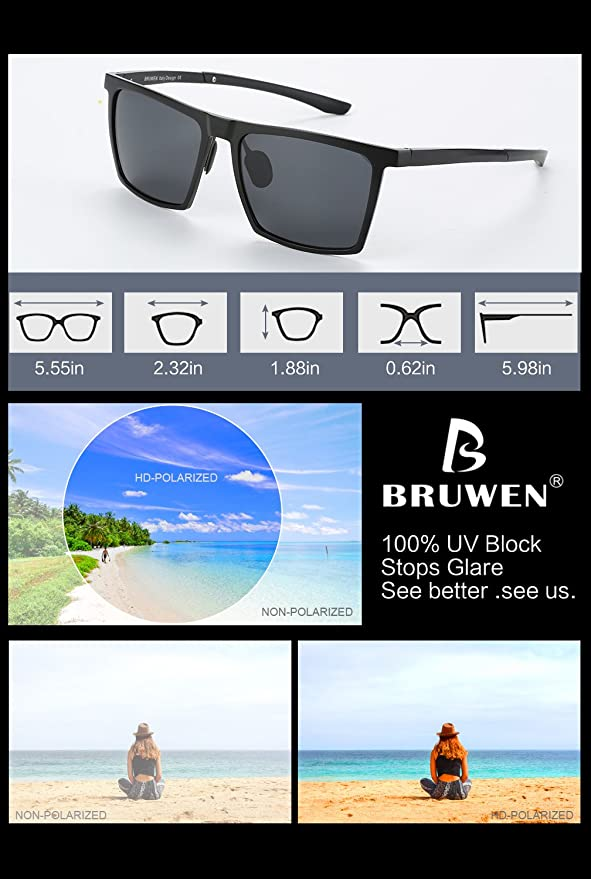 123e96bbb6 Amazon.com  BRUWEN Fashion Polarized Sunglasses for Men with Mirrored Dark  Lens