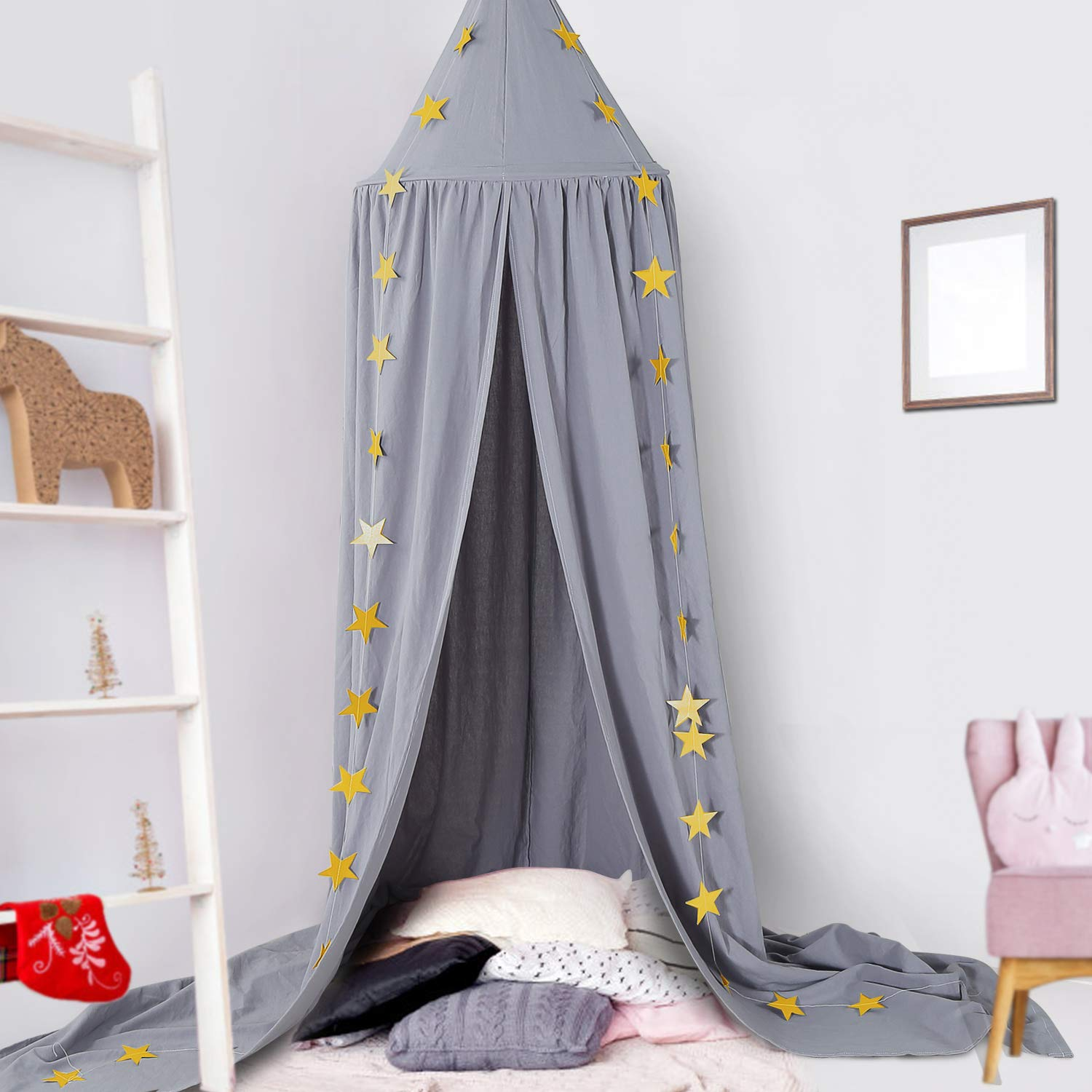 Ceekii Canopy for Girls Bed, Round Dome Hook Cotton Princess Mosquito Net Canopy Kids Bedroom Games Reading Tent Nursery Play Room Decor (Gray)