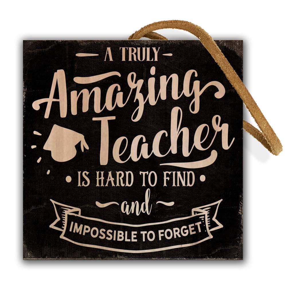 4-inch by 4-inch Handmade Wood Square Block Amazing Teacher Appreciation Gift