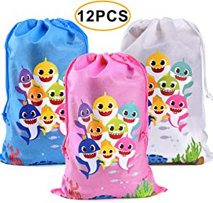 Shark Drawstring Bags Baby Shower Party Favor Supplies Kids Birthday Party - 12 Pack