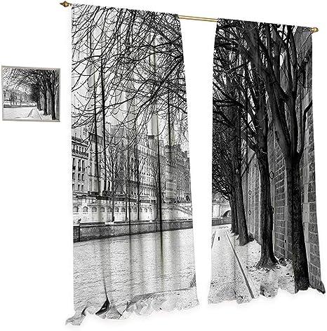 Anniutwo - Cortina de Ventana de Color Blanco y Negro con Paraguas Rojo en una Calle Oscura Estrecha en la Toscana Italia Rainy Invierno Cortinas Decorativas para salón Gris Vermilion: Amazon.es: Hogar