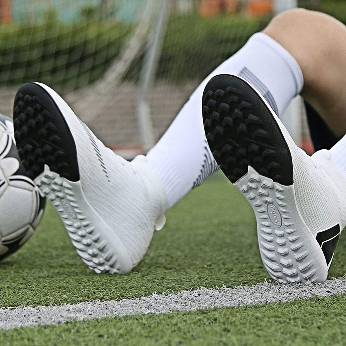 Soccer Boots Shoes for Big Boy High Top Ankle Boots Colorful Ribbon for Men Outdoor Training TF//AG Messi Turf Indoor Youth Football Shoes