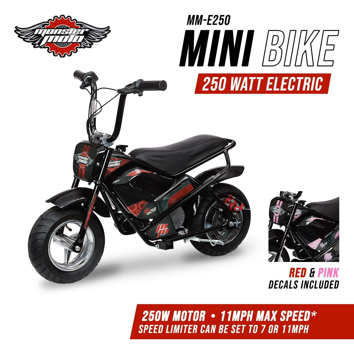 Amazon.com: Monster Moto MM-E250-PR Black/Red/Pink Watt 250 W Electric Mini  Bike: Automotive