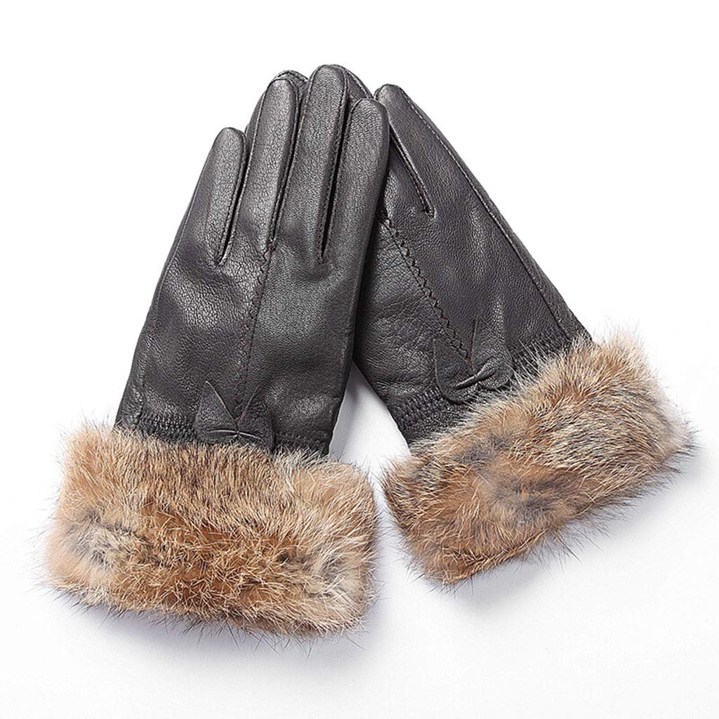 DSADDSD Winter-Damen-Lederhandschuhe, Reiten im Freien warme Wasserdichte Winddichte Handschuhe