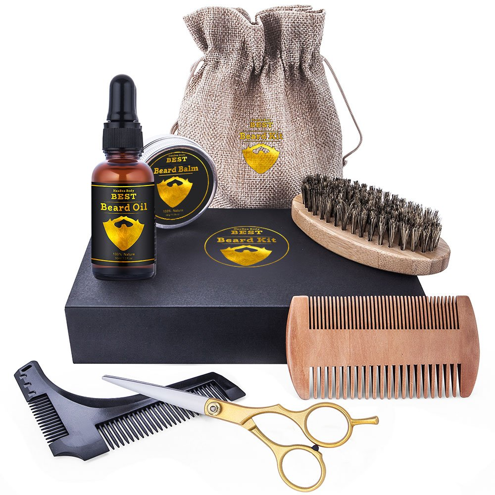 Premium Beard grooming care Kit All-in perfect gifts for men by HeaBea body Bring your beard to Next Level Organic beard oil balm with essential accessories trimming shaping combs brush scissors tools