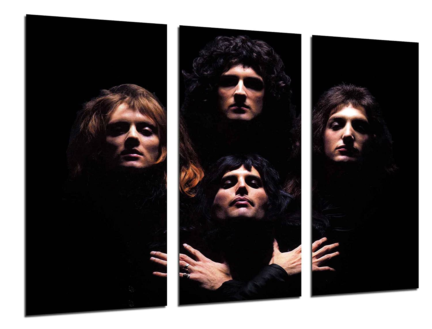 "MULTI Wood Printings Art Print Box Framed Picture Wall Hanging - Queen, Freddie Mercury, Brian May, Music Rock, Bohemian Rhapsody, (Total Size: 38,2"" x 24,4""), - Framed And Ready To Hang - ref. 26519 2"" x 24 4"") Cuadros Camara"
