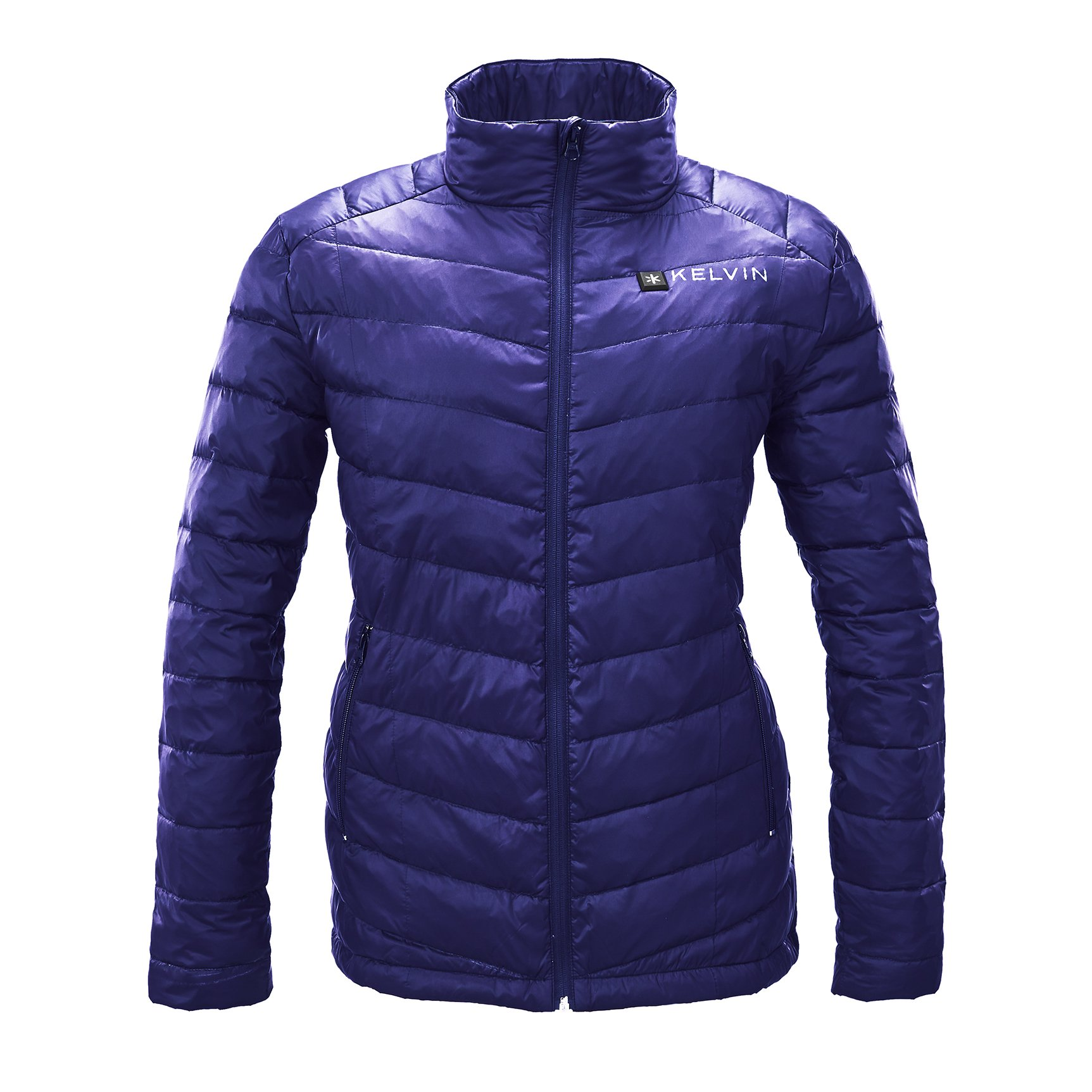 Kelvin Heated Jacket For Women - 5 Heat Zones + 10Hr Battery For The Finest Heated Coat | charges Cell Phones, Extreme Weather + Rip Resistant, 90/10 Duck Down Puffer Jacket | Cermak, Blue - Large