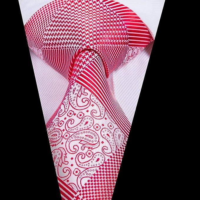 AK Hombres S Tie Tie Brand Hombres Corbatas Jacquard Rojo Tejido ...