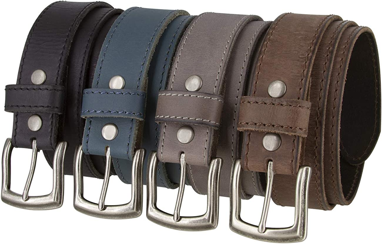 Squares Made in Italy Silver Buckle with Genuine Leather Casual Belt Strap