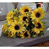 1x Girasole artificiale Fiore artificiale per la decorazione domestica senza vaso & Basket