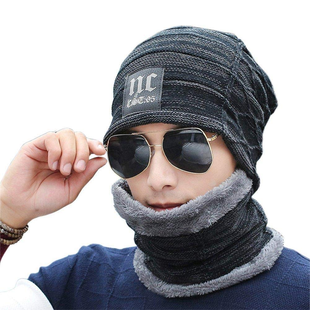 Men Thermal Winter Christmas Gift Boy Men Gift Beanie Hat Neck Warmer Set Skiing Hat Thick Skull Cap with Soft Fleece Lined for Outdoor Sports Warm Knitted Hat with Circle Scarf