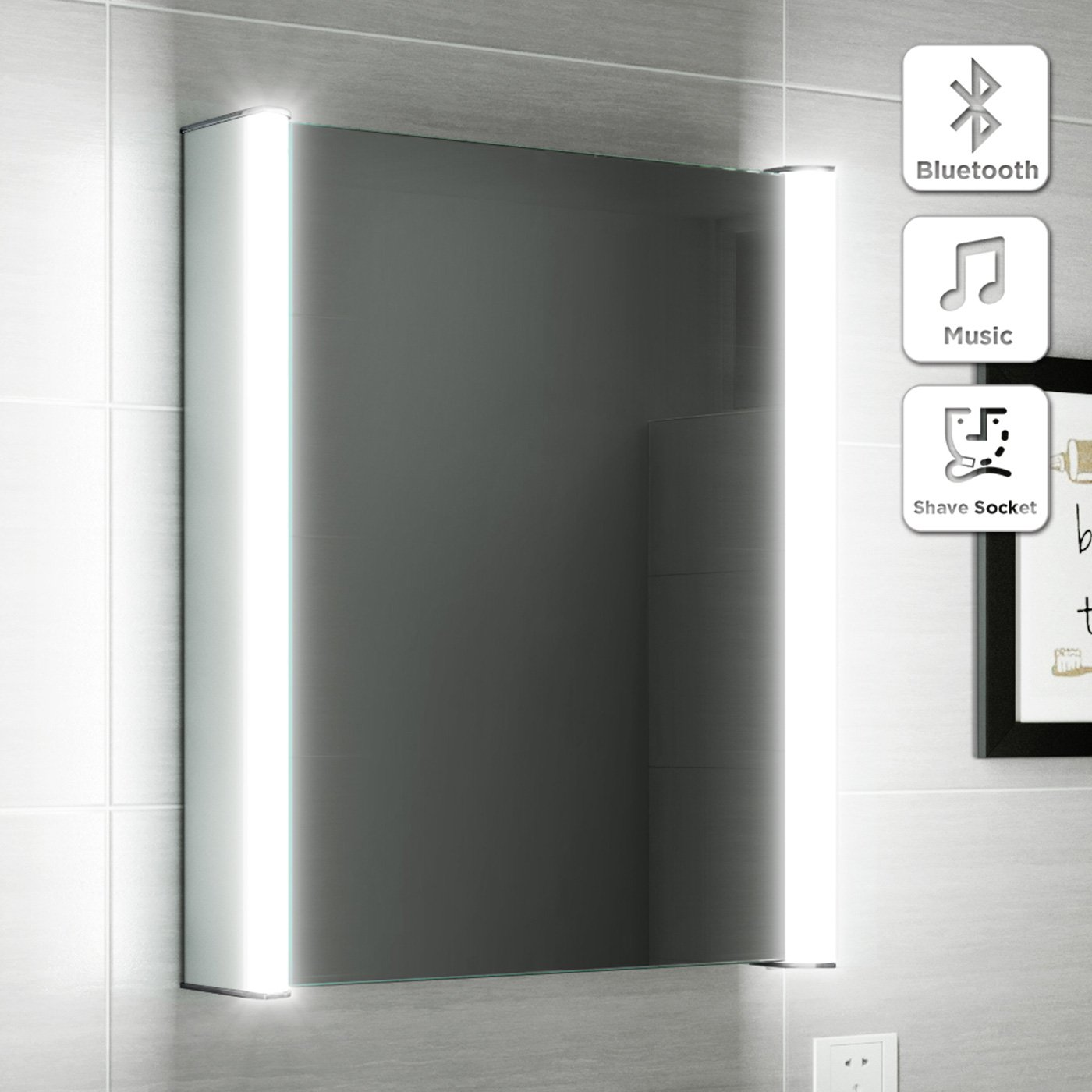 500 x 650 mm Illuminated LED Bathroom Mirror Cabinet with Motion