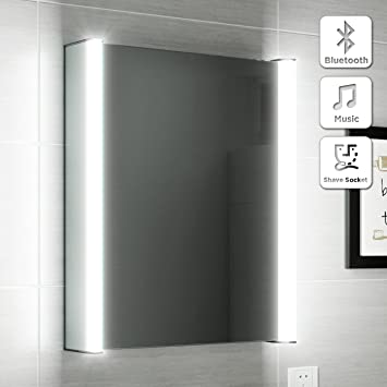 500 X 650 Illuminated LED Bathroom Mirror Cabinet Bluetooth Speaker Shaver Socket MC129