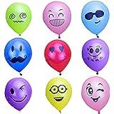 Vococal - 100 Pz 10 Pollici Colore Aerostato Partito Misto Latice Emoji Smiley Espressione Facciale Decorazione Palloncini per Matrimonio Compleanno Partito Stile Casuale