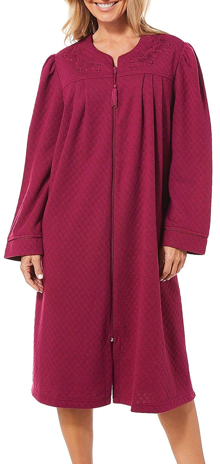 f8fed9f7e91b JASMINE ROSE Womens Paisley Embroidered Double Knit Robe Medium Raspberry  red at Amazon Women s Clothing store