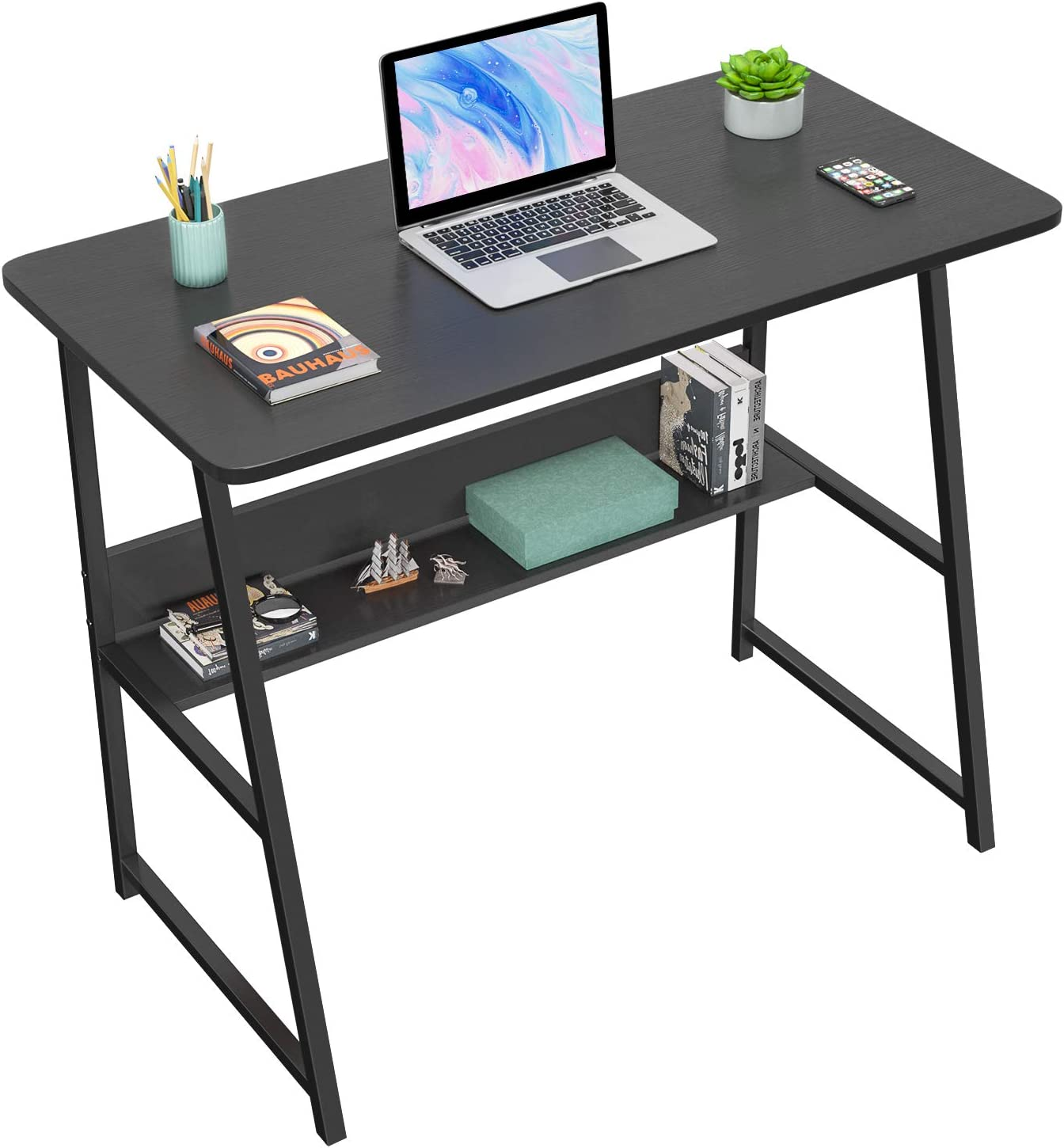 "Homfio Computer Desks for Home Office 32"" Modern Sturdy Writing Desk with Bookshelf Study Table Desk with Metal Legs Industrial Tiny Table for Small Space, Black"