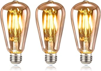 Retro Gl/ühbirne 4W LED Vintage Beleuchtung ST64 Ideal f/ür Retro Beleuchtung im Haus Caf/é Bar Musikzimmer Restaurant Hochzeit Weihnachten Dekoration Amber Warm ASANMU Edison Vintage LED E27 1 St/ück