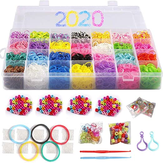DIY Loom Bands Craft with Storage Rainbow Rubber Bands Refill Kit Christmas No Loom Board Included. School Birthday Great Gift for Kids
