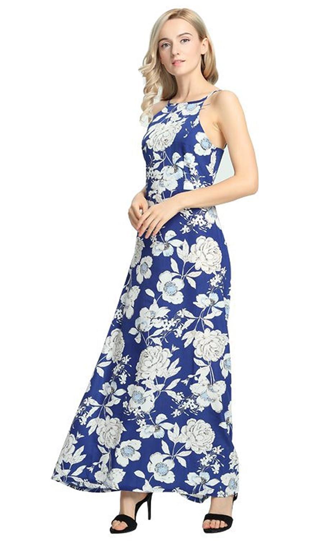 Damen Sommer Kleider Fashion Boho Print Blumen Kleid Sexy Rückenfrei ...