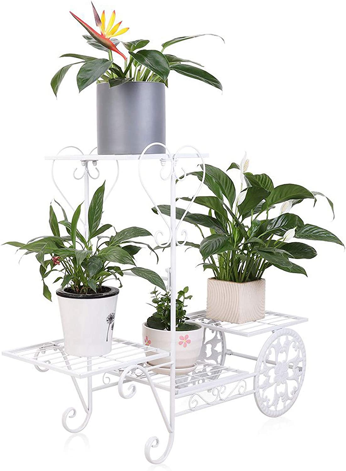 unho Garden Cart Stand with 4 Tier Plants Shelvings Parisian Style Metal Flower Rack Display Holder for Small Potted Plants, White