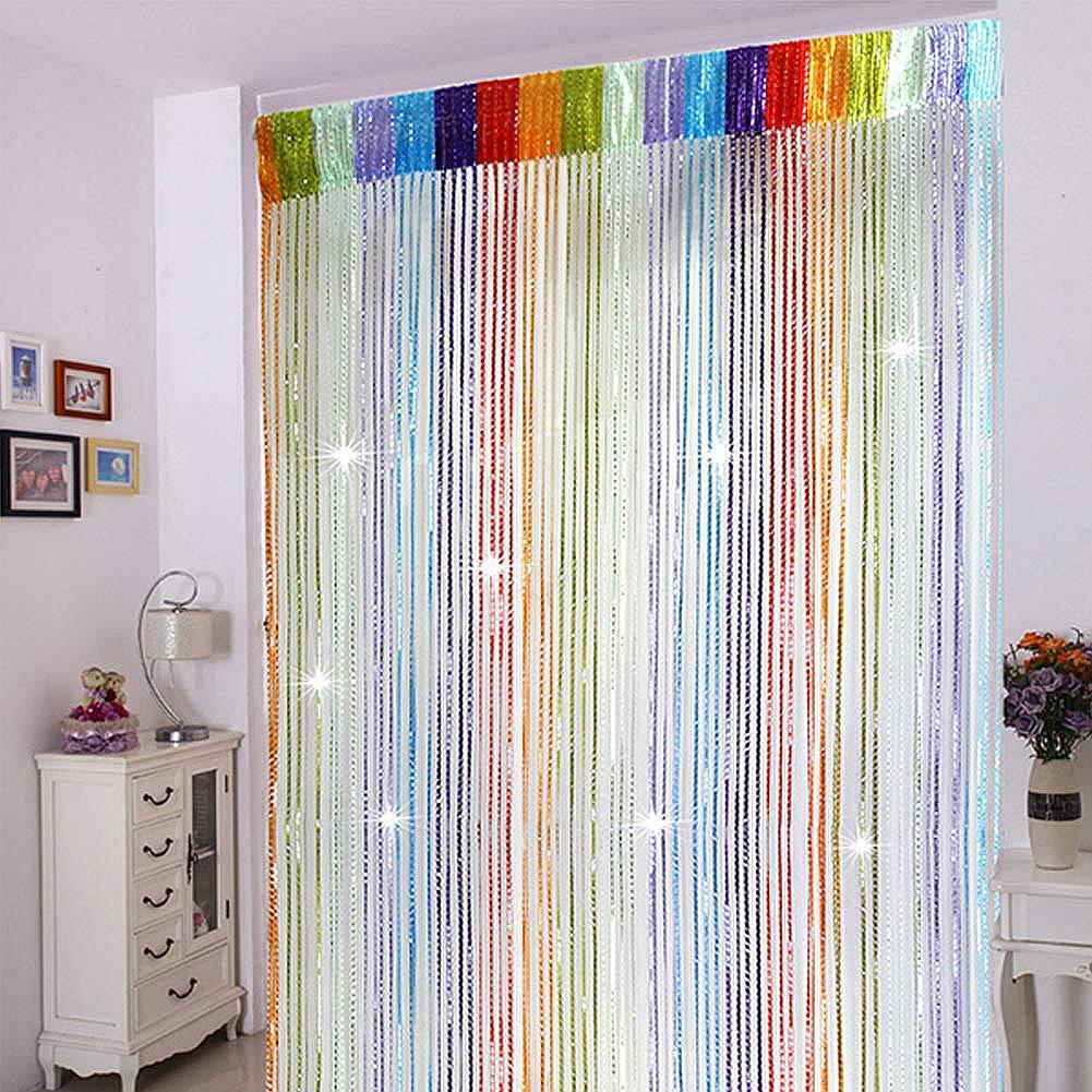 Quastenvorhang als Raumtrenner oder f/ür T/üren und Fenster 90 x 200cm Perfekt als Fliegenschutz Trixes bunter Fadenvorhang im Tautropfen Design