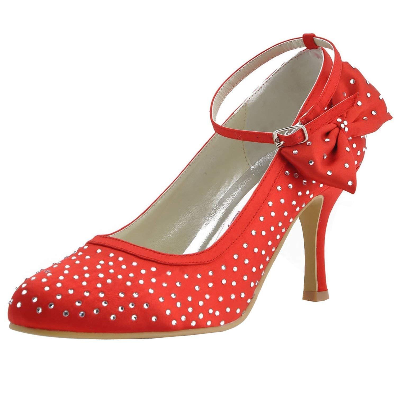 ZHRUI GYMZ691 Femmes Cristaux Satin Soirée De Bal Chaussures De Mariée De Mariage Pompes Sandales Flatfs (Couleuré   rouge-7.5cm Heel, Taille   6 UK)