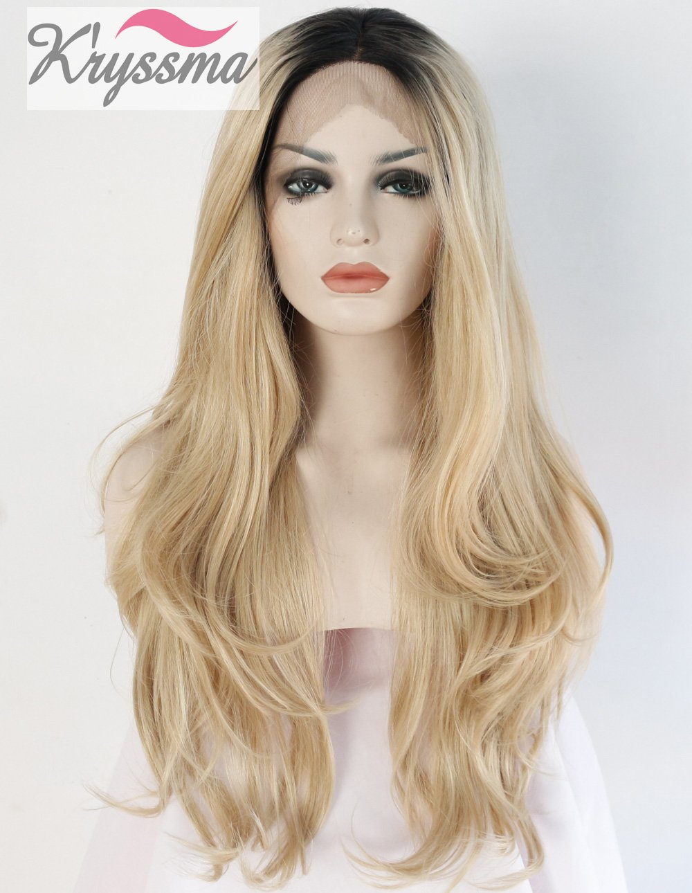 K'ryssma Ombre Blonde Lace Front Wigs For Women 2 Tone Black Roots Long Natural Wavy Heat Resistant Synthetic Wig 24 inches K' ryssma