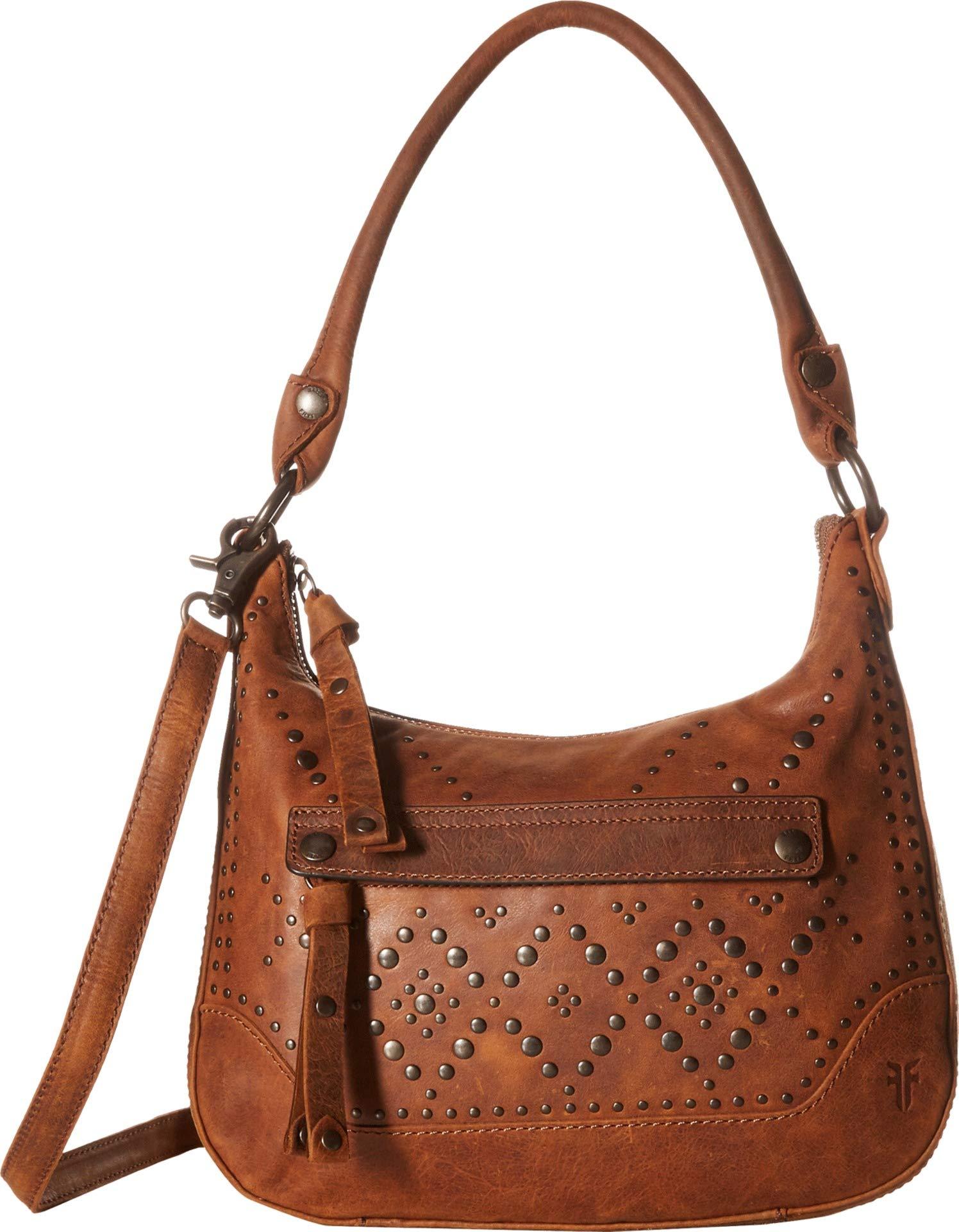 FRYE Melissa Studded Zip Hobo Crossbody Handbag, brown