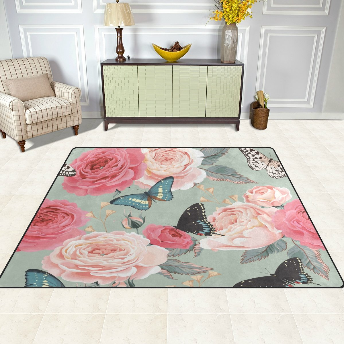 Area Rug, Butterfly Rose Flower Print Carpet Super Soft Polyester Large Non-Slip Modern Bath Mats for Bedroom Living Room Hall Dinner Table Home Decor 48 x 63 inch FFY GO