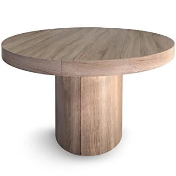 Menzzo Suzie Table Ronde Extensible, Chêne Clair, 260 x 110 x 76 cm ...