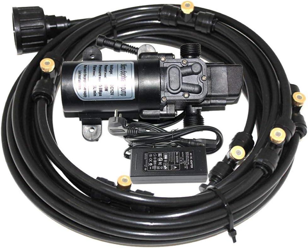 EONBON 12V 60W 5L/min Fresh Water Pressure Self Priming Sprayer Pump with 60 Feet (18m) Misting Cooling System for RV Caravan Camper Marine Boat Lawn