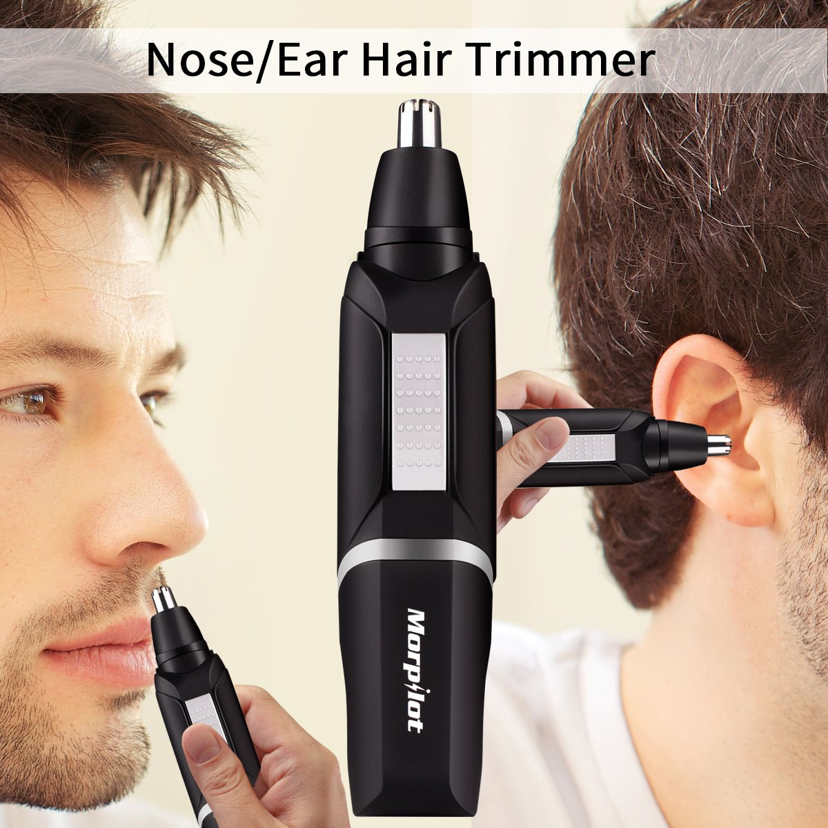Morpilot Ear Nose Hair Trimmer for Men Professional Water Resistant Steel with Child Lock Switch LED Light Battery-Operated + Manicure Set (Black)
