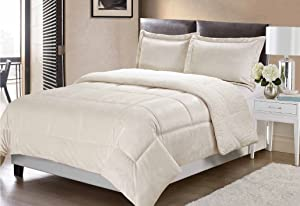 Swift Home Collection Ultra-Plush Reversible Micromink and Sherpa 3-Piece Down Alternative Comforter with Pillow Shams, Luxury Bedding Set, Hypoallergenic, Ivory, King
