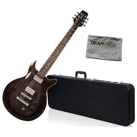 Hamer satf-tbk Trans negro doble corte para guitarra eléctrica w/gamuza de geartree