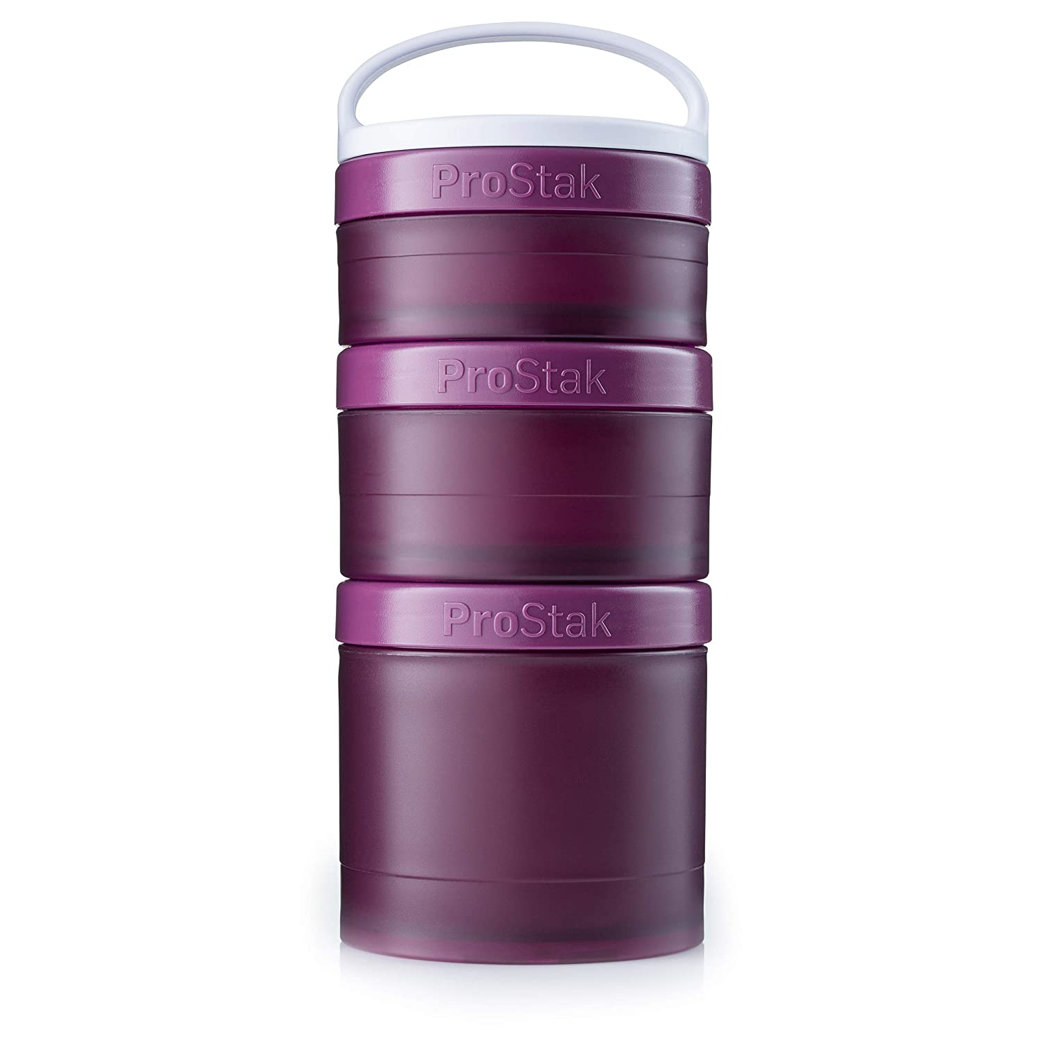 BlenderBottle ProStak Twist n' Lock Storage Jars Expansion 3-Pak with Removable Handle, Plum