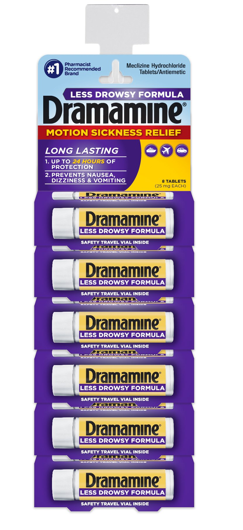 Dramamine Less Drowsy 6 Package Display-4 Pre Loaded Clip Strips by Dramamine