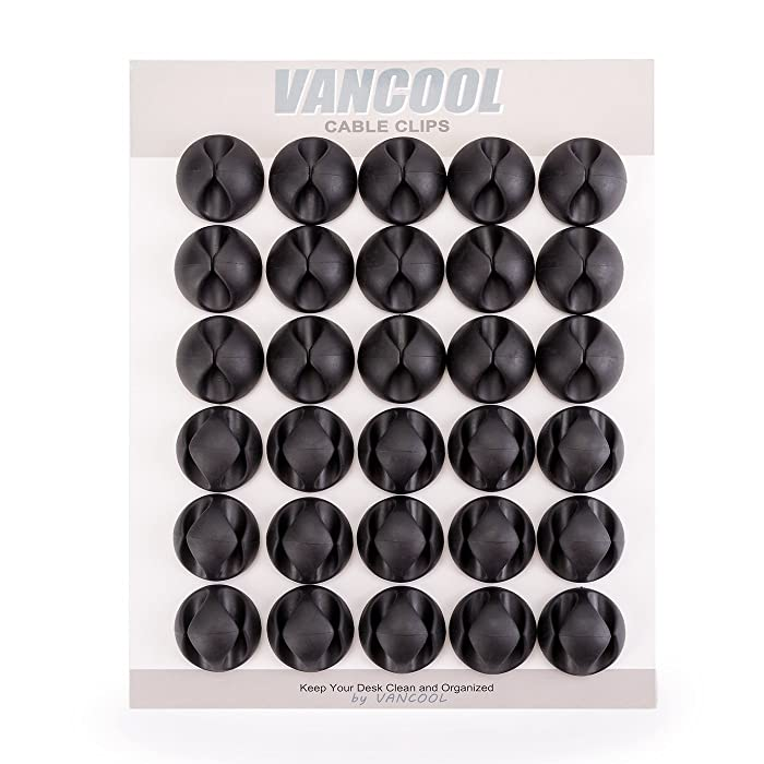 VANCOOL Single & Double Channel 30-Pack Cable Clips with Self Adhesive Back,Wire and Cord Management System