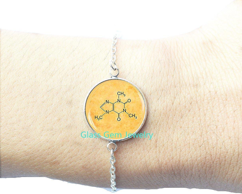 Caffeine Charm Bracelet Molecule Jewellery 18k Rose Gold or Yellow Gold Vermeil