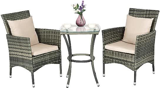 COSTWAY Conjunto Muebles de Ratán para Jardín Terraza Patio Balcón 2 Sillas y 1 Mesa con Cojines para Exterior y Interior: Amazon.es: Jardín