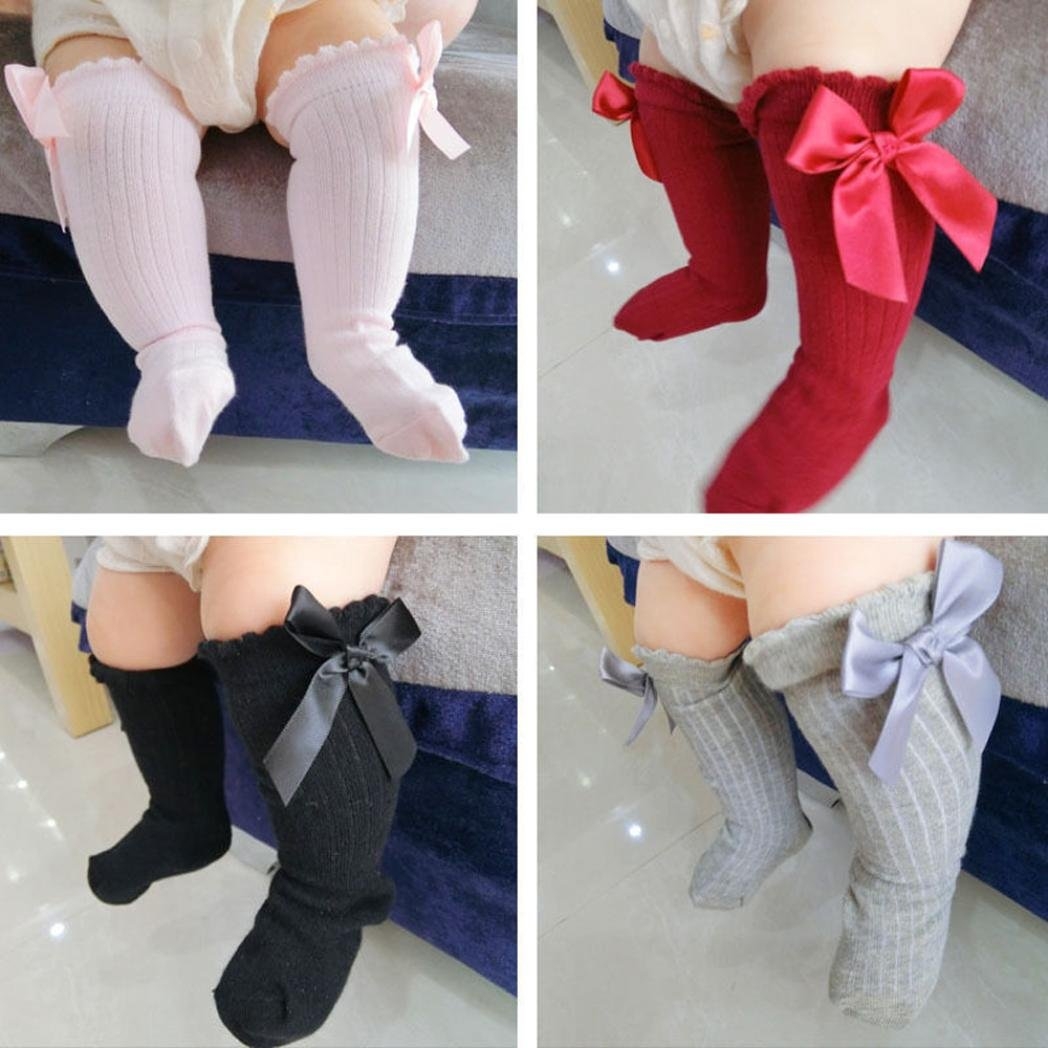 LandFox Kids Toddlers Girls Big Bow Knee High Long Soft Cotton Lace Socks Black