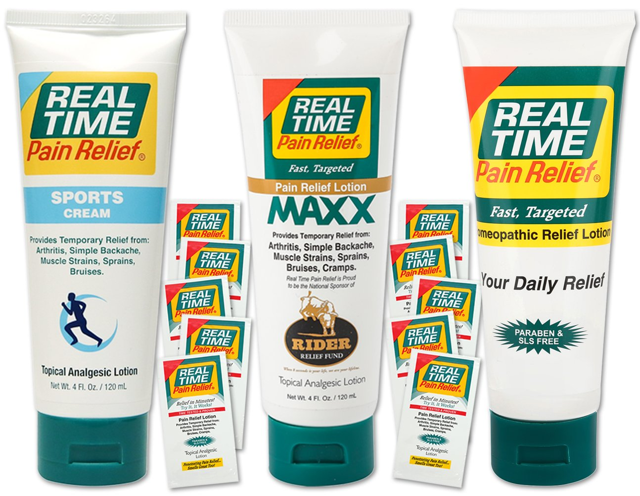 Real Time Pain Relief Stay Active Pack, Sports Cream, Daily Relief, MAXX Relief, 10 Pain Cream Travel Packs