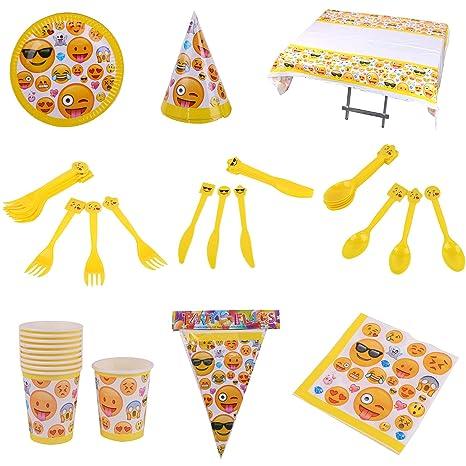 Tukistore 84 Piezas Vajilla para Cumpleaños,Diseño de Emoji ...