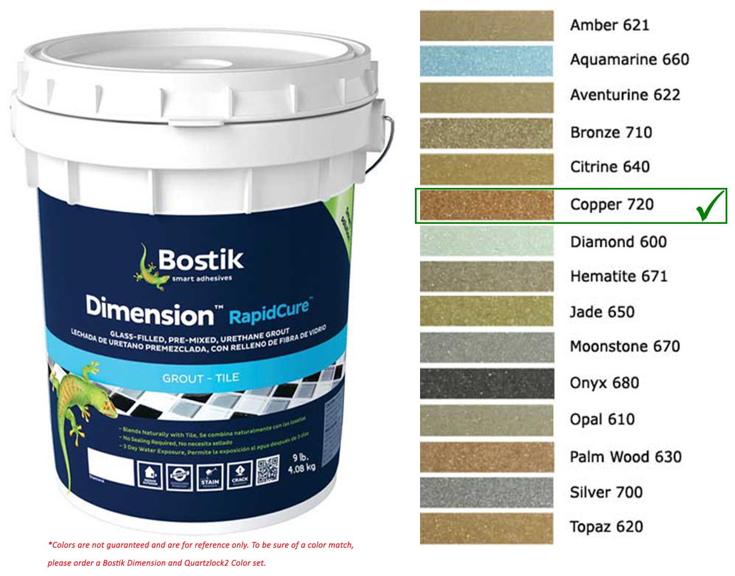 Bostik Dimension StarGlass Grout 720 Copper 9 lbs