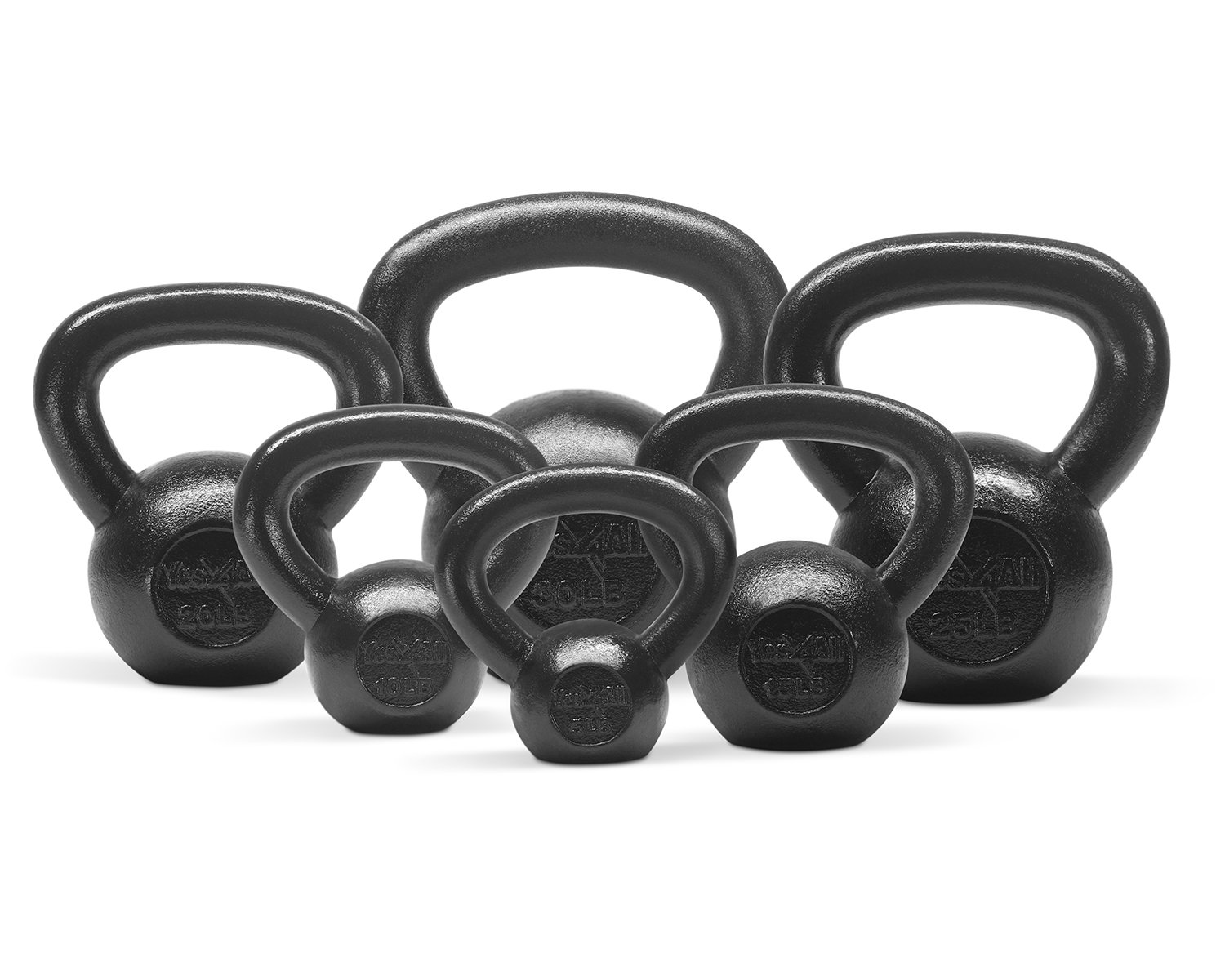 Yes4All Combo Cast Iron Kettlebell Weight Sets – Great for Full Body Workout and Strength Training – Kettlebells 5 10 15 20 25 30 lbs (Black)