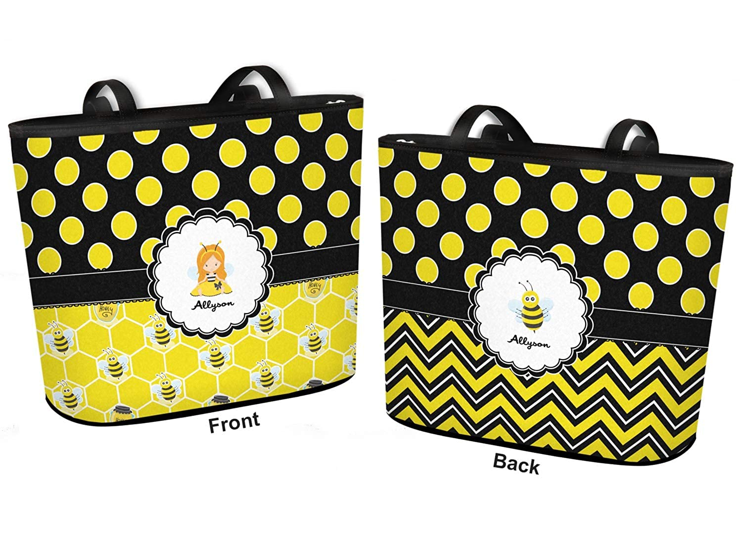 Honeycomb Large w//Front /& Back Design Personalized Bees /& Polka Dots Bucket Tote w//Genuine Leather Trim